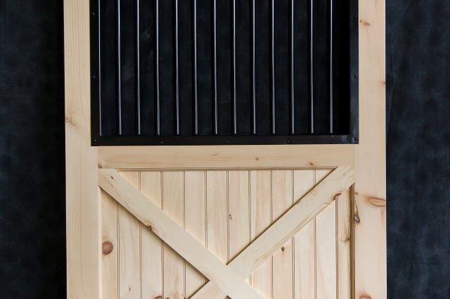 Custom Wooden Door With Black Grating