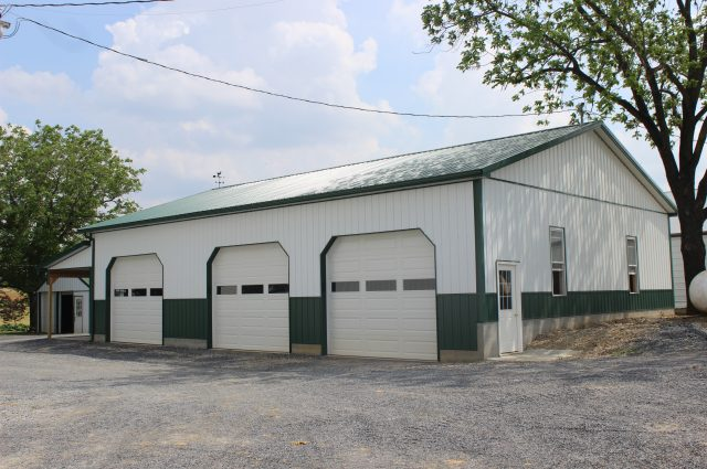Green Trim Pole Barn