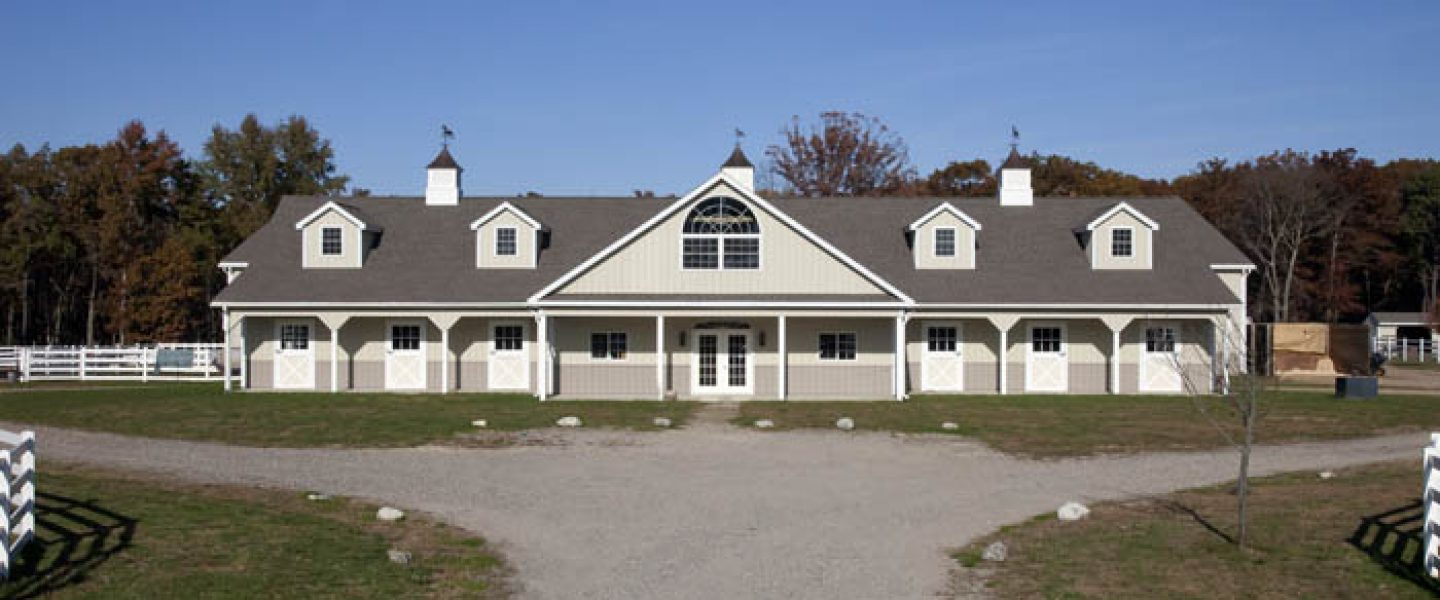 Two-Story horse barn with stately driveway