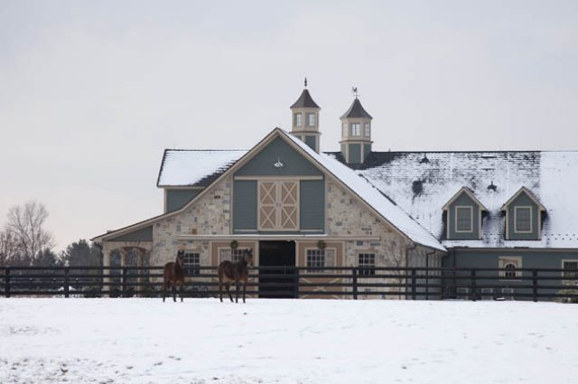 Horse Barn In Snow