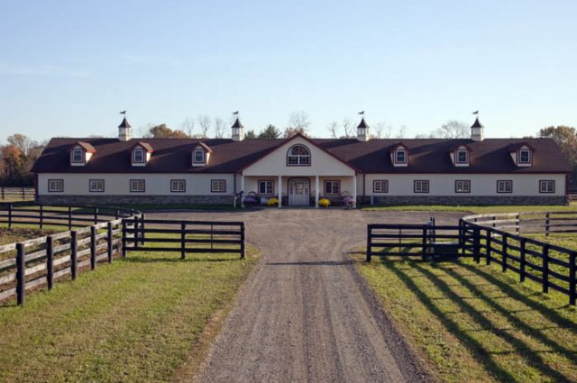 Horse Barn & Wooden Fence