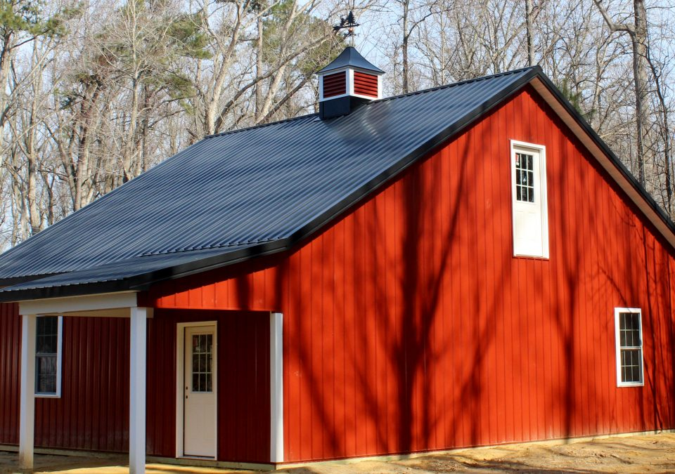 Red horse barn with cupola upgrade