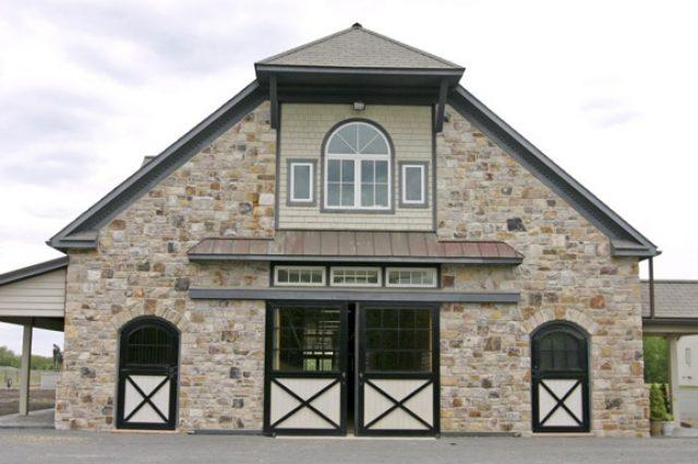 Large horse barn with stonework