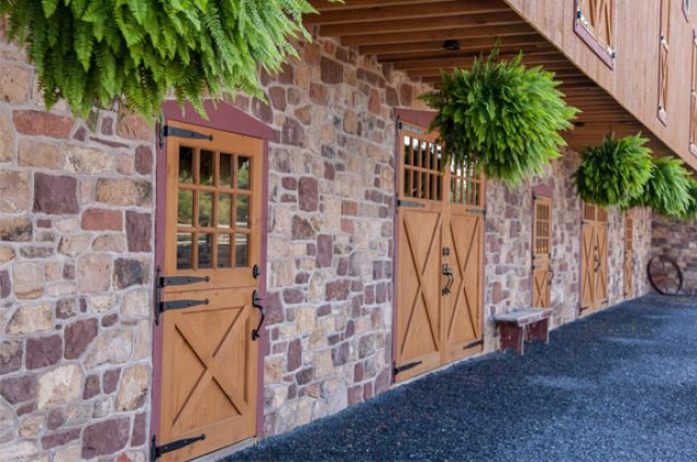 Exterior barn doors with hinges