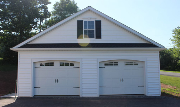 2-Car Garage with white siding