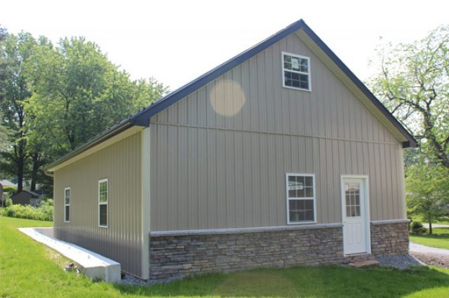 Modern luxury pole barn building