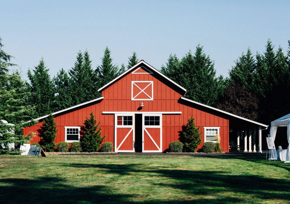 Red barn with lean-to