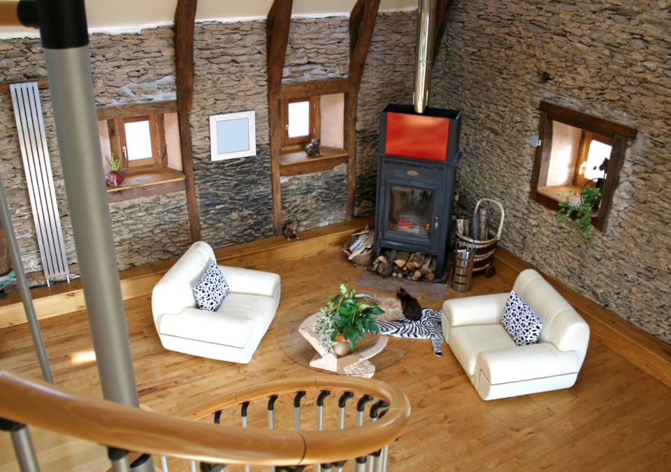 living room of pole building home